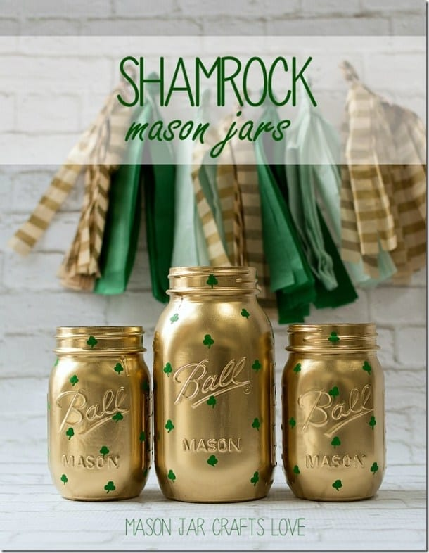 CCheck out these amazing St. Patricks day decor ideas for your home! You can decorate your home on even the smallest of budgets. These mason jars with shamrocks are perfect for the occasion.